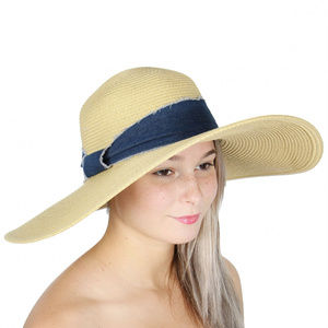 Large floppy hat with denim band